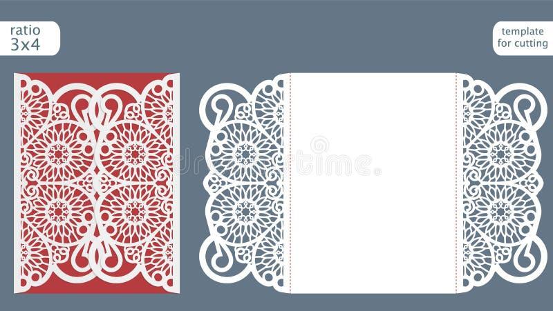 Laserowy rżnięty ślubny zaproszenie karty szablonu wektor Kostka do gry rżnięta papierowa karta z abstrakta wzorem royalty ilustracja