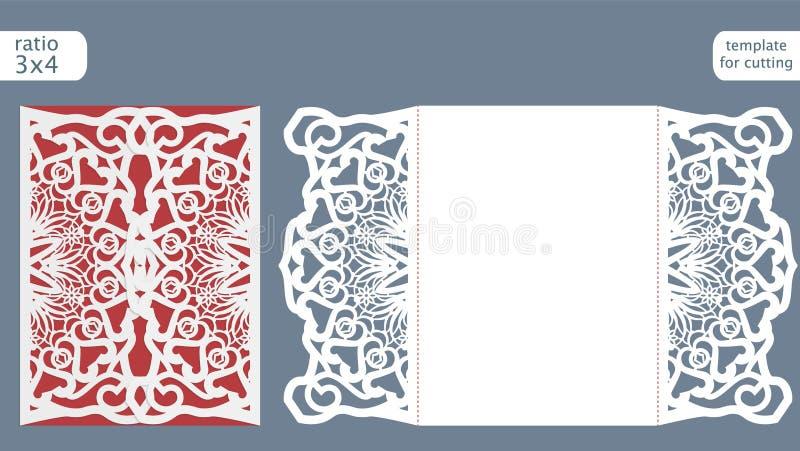 Laserowy rżnięty ślubny zaproszenie karty szablonu wektor Kostka do gry rżnięta papierowa karta z abstrakta wzorem ilustracji