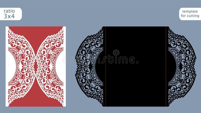 Laserowy rżnięty ślubny zaproszenie karty szablonu wektor Kostka do gry rżnięta papierowa karta z abstrakta wzorem Wycinanka papi ilustracja wektor