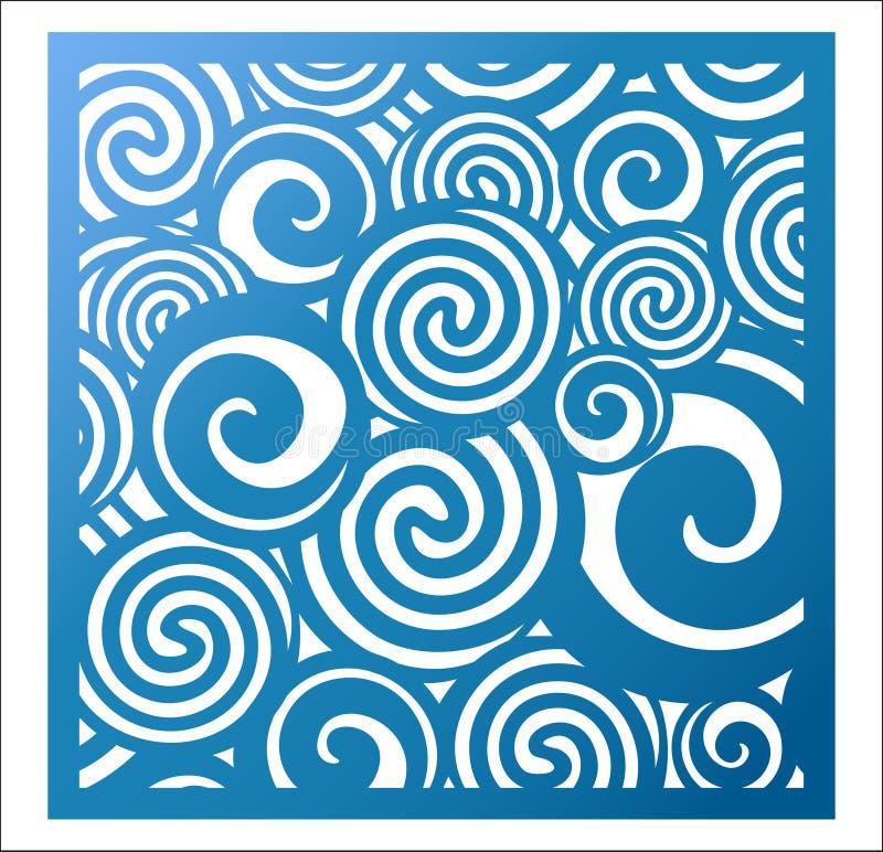 Laserowy rozcięcie kwadrata panel Fretwork abstrakta wzór z kędzierzawym ilustracja wektor