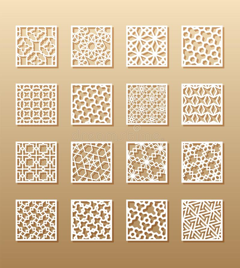 12 laserpatronen voor ruimtemuren in de Arabische stijl Traditioneel oosters ornament in een rechthoek voor het ontwerp van a vector illustratie