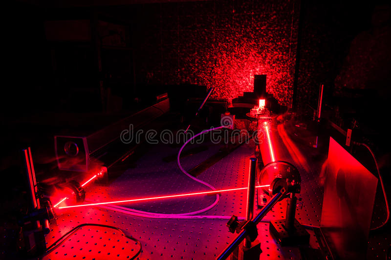 Lasers in a quantum optics lab. Oratory royalty free stock images