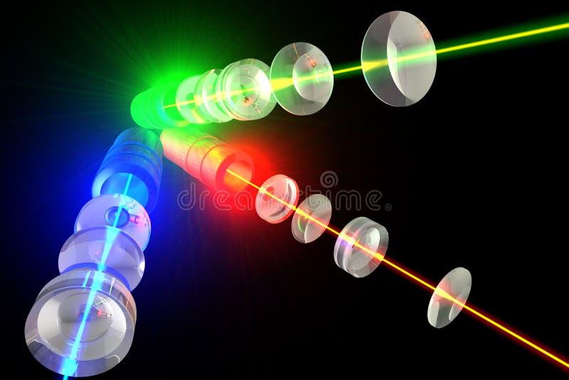 Lasers - systeme optique et lumière RVB illustration de vecteur