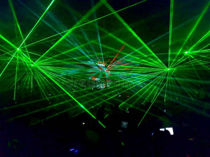 Lasershow technoparty in brno czech republic. Events, lights royalty free stock images