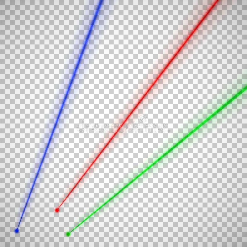 Laserstråle Röda, blåa gröna strålar som isoleras på genomskinlig bakgrund också vektor för coreldrawillustration royaltyfri illustrationer