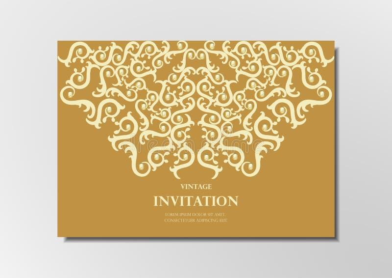 Laseru cięcia papier na złocistym tło rocznika karty wektorze royalty ilustracja