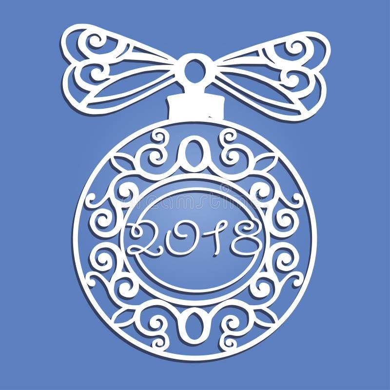 Laseru cięcia papieru boże narodzenia balowi Bożenarodzeniowe dekoracje dla drewnianego cyzelowania, papierowy rozcięcie royalty ilustracja