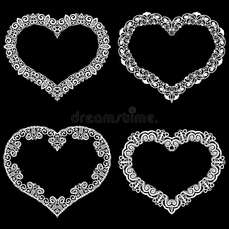 Laseru cięcia rama w formie serca z koronki granicą Set podstawy dla papierowego doily dla ślubu ilustracji
