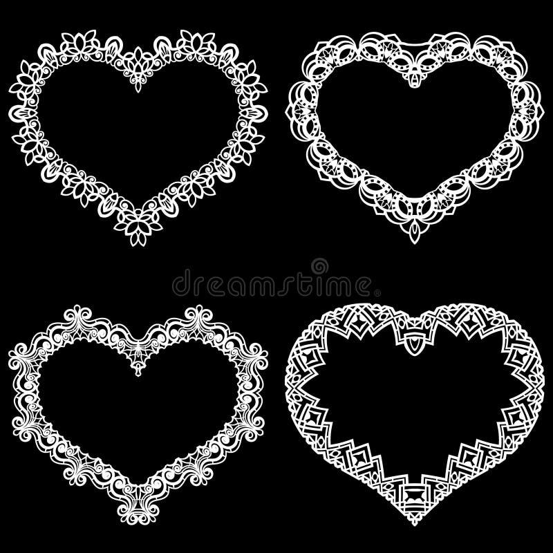 Laseru cięcia rama w formie serca z koronki granicą Set podstawy dla papierowego doily dla ślubu ilustracja wektor