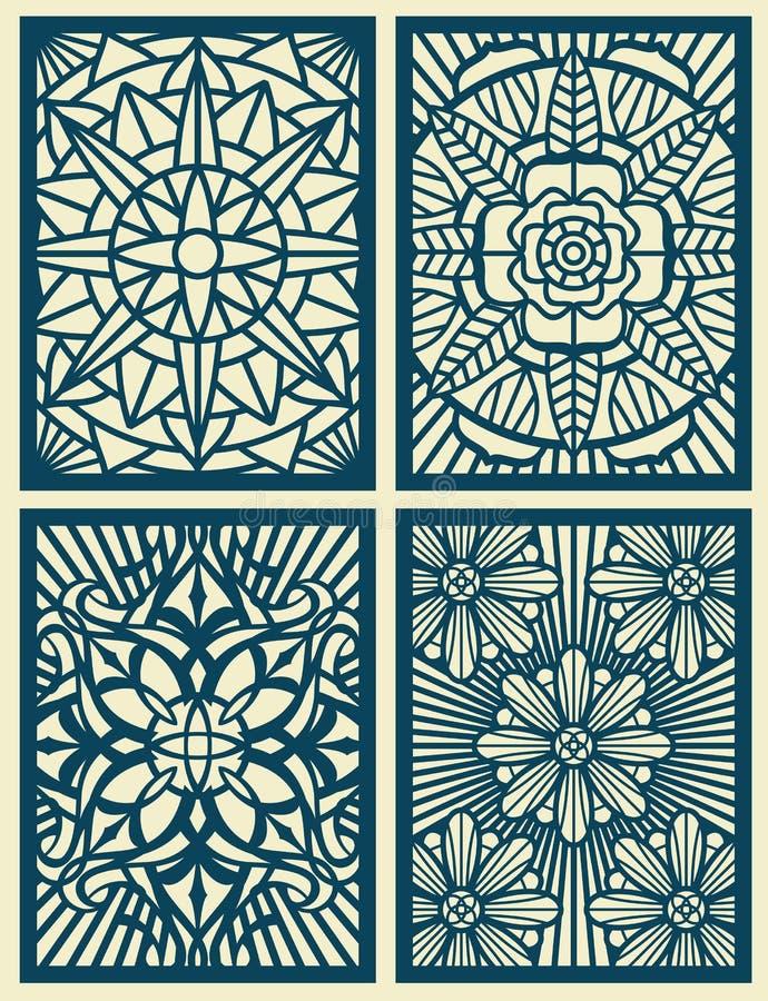 Laseru rżniętego fretwork wektorowe deseniowe karty, panel royalty ilustracja