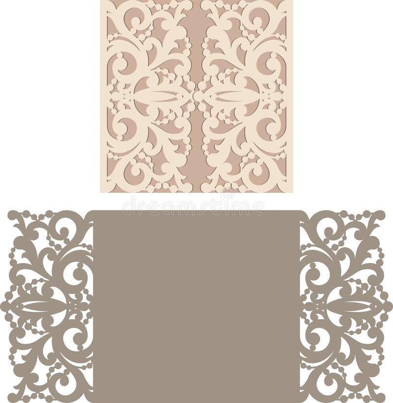 Laseru rżnięty kopertowy szablon dla zaproszenie ślubnej karty royalty ilustracja