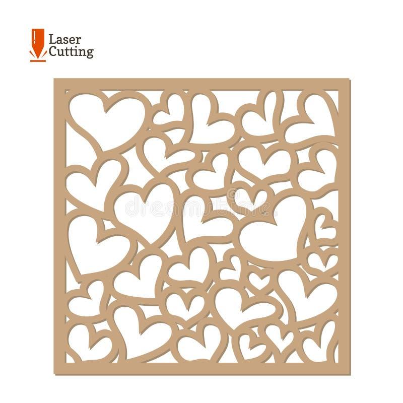 Laseru rżnięty panel Wektoru ramowy szablon z sercami dla cięcia na laserowej maszynie Sztuki sylwetki projekt tła karciany prela ilustracji