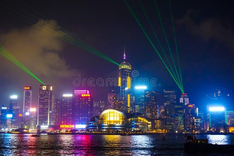 Laset-Zeigung in Hong Kong stockfotografie