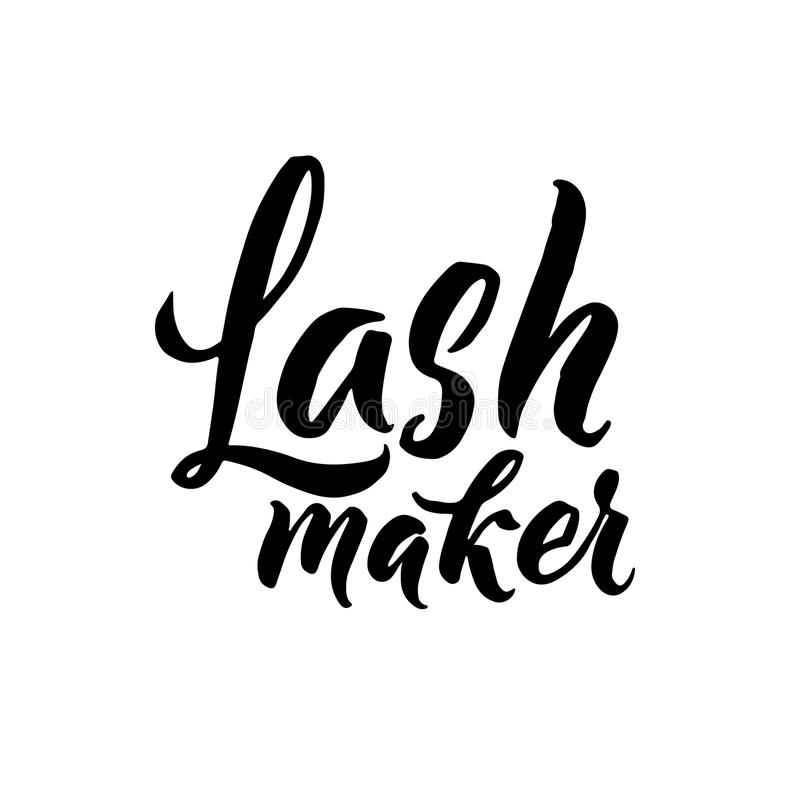 Lash Typography Square Poster. Vector lettering. Calligraphy phrase for gift cards, scrapbooking, beauty blogs royalty free illustration