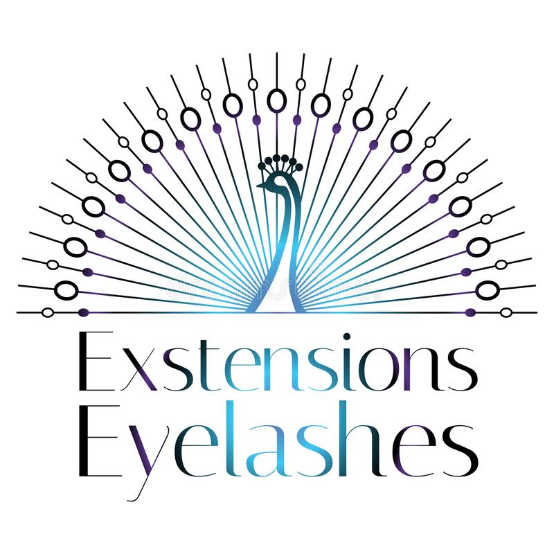 Lashes, eyebrows, makeup logo, sign, symbol for cosmetic salon, beauty shop, makeup artist, peacock, modern original style stock illustration