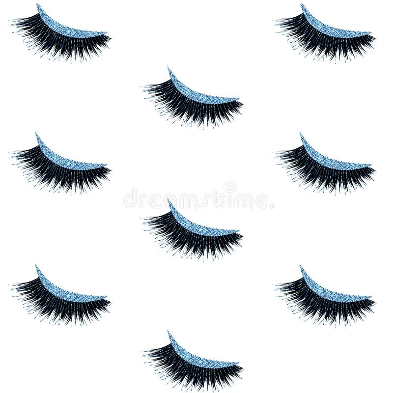 Lashes seamless vector pattern with blue glitter effect. Lashes pattern with blue glitter effect