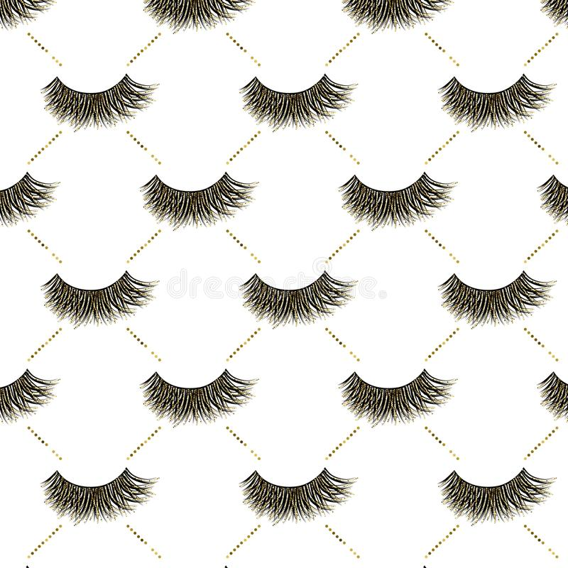 Lashes vector pattern with gold glitter effect. Lashes pattern with gold glitter effect