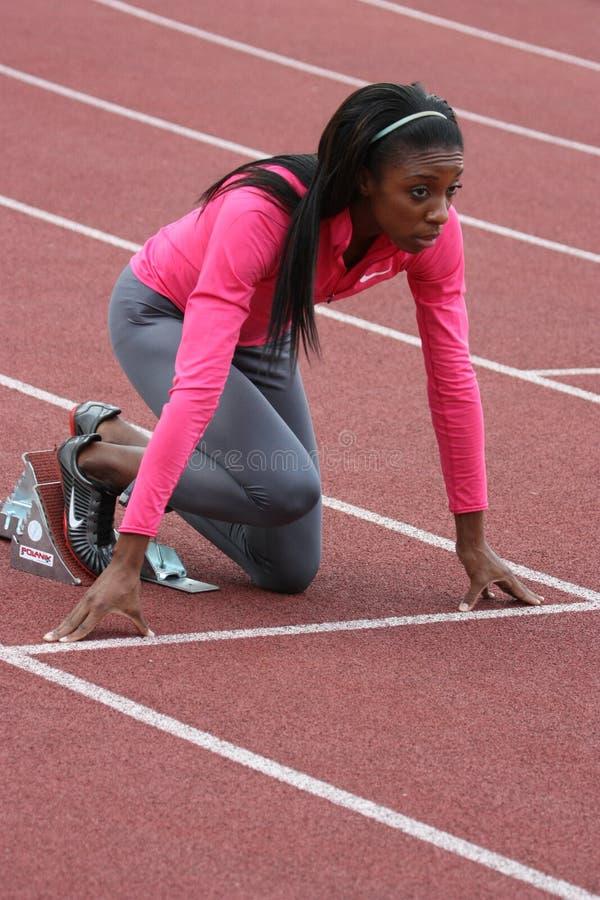 Lashinda Demus Rennenvorbereitung lizenzfreies stockbild