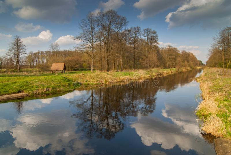 Lasica Channel, swamp in Kampinoski National Park near Warsaw, Poland.  royalty free stock photo