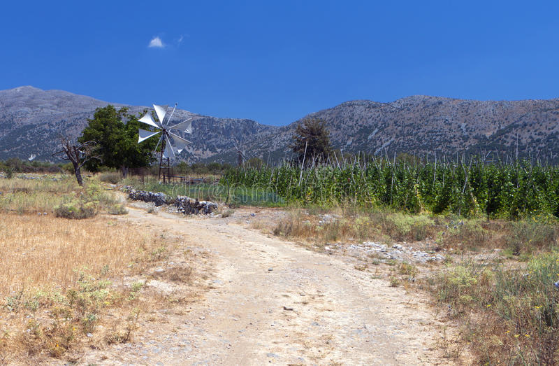 Lasithi platå på Crete arkivbild