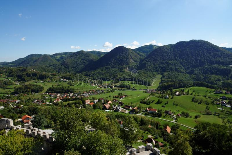 Lasko valley in Slovenia seen from Celje castle. Picturesque Lasko valley in Slovenia seen from Celje castle stock image