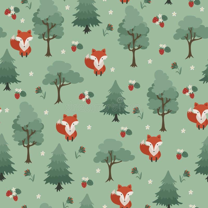 Lasowa bezszwowa tapeta ilustracji