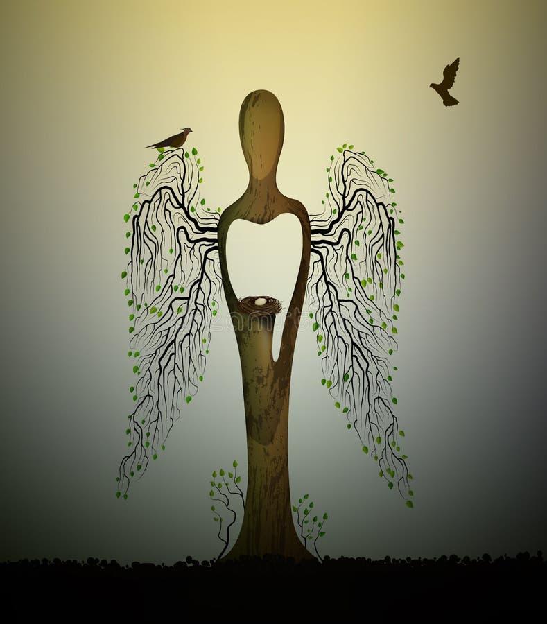 Lasowa dusza, drzew spojrzenia inside jak anioł z ptakami i gniazdeczko, lasowy duch, drzewna rzeźba z ptakami, drzewa s sen, ilustracji