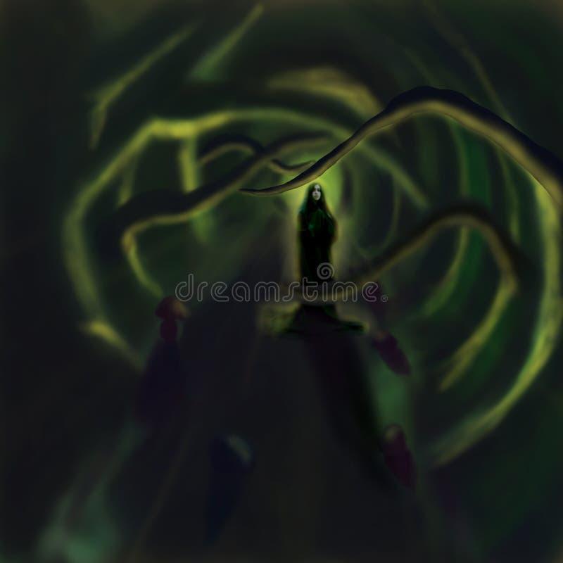 Download Lasowa magiczna kapłanka ilustracji. Obraz złożonej z kamienie - 13660264