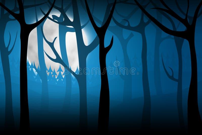 lasowa noc przeraża ilustracja wektor