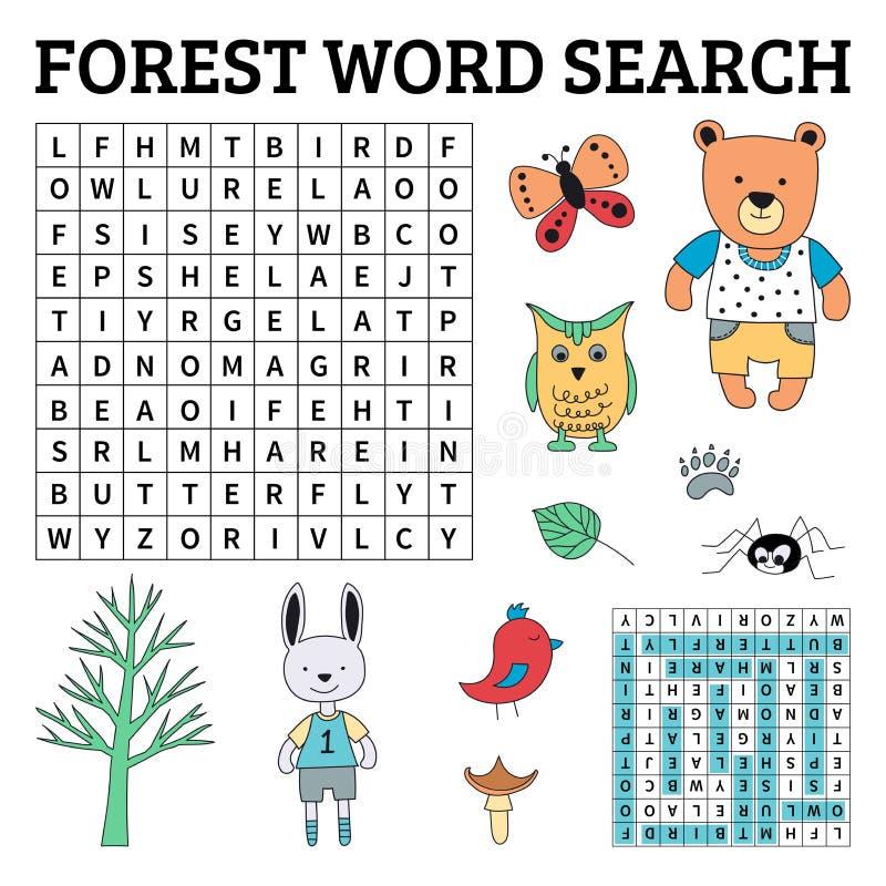 Lasowa słowo rewizi gra dla dzieciaków ilustracja wektor