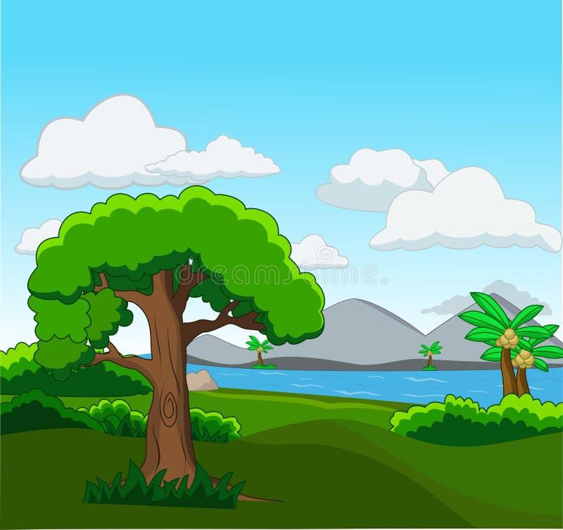 Lasowa scena z wiele rzeczną ilustracją i drzewami royalty ilustracja