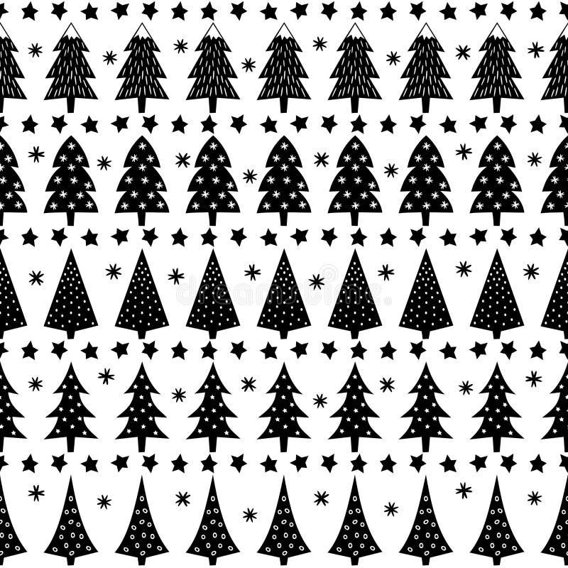 Lasowa tło ilustracja Prosty bezszwowy boże narodzenie wzór - Xmas drzewa, gwiazdy, płatki śniegu ilustracji