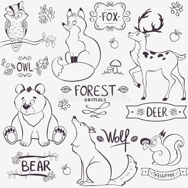 Lasowa zwierzę sylwetka royalty ilustracja