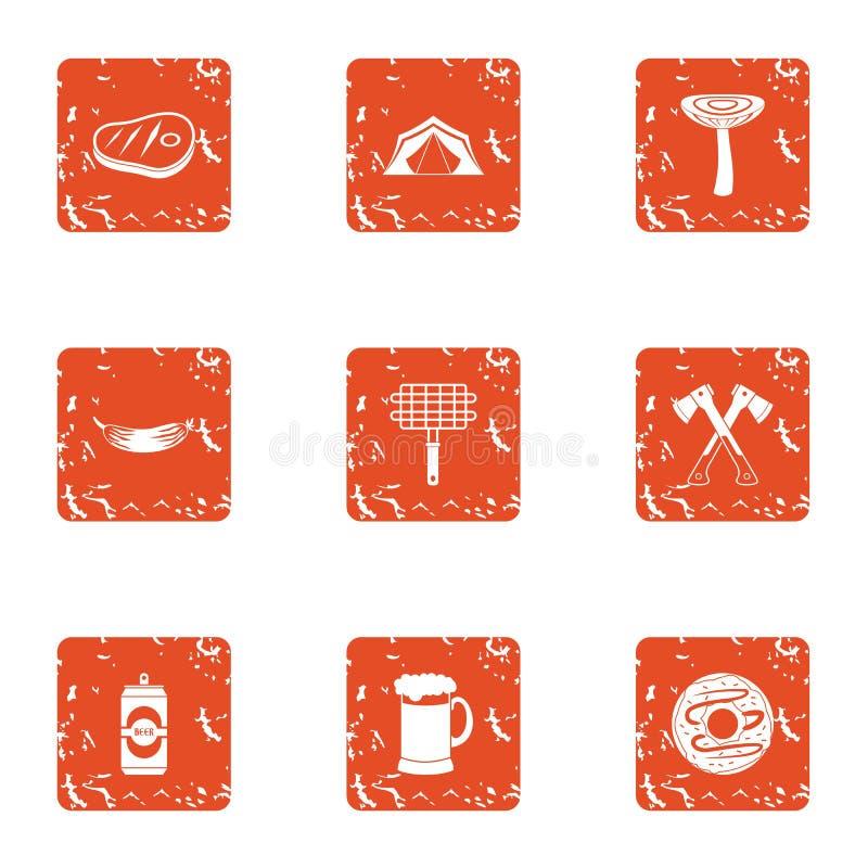 Lasowe grill ikony ustawiać, grunge styl ilustracja wektor