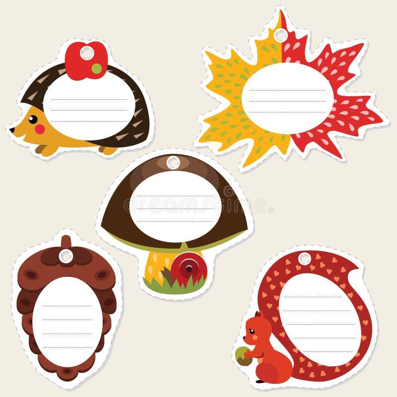 Download Lasowe prezent etykietki ilustracja wektor. Obraz złożonej z jesienny - 29051288