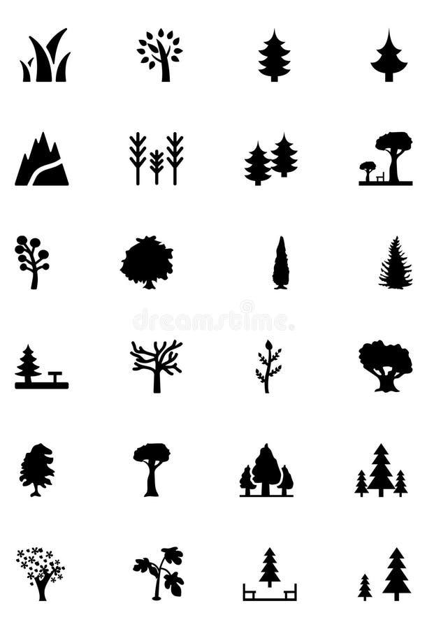 Lasowe Wektorowe Stałe ikony 1 ilustracji