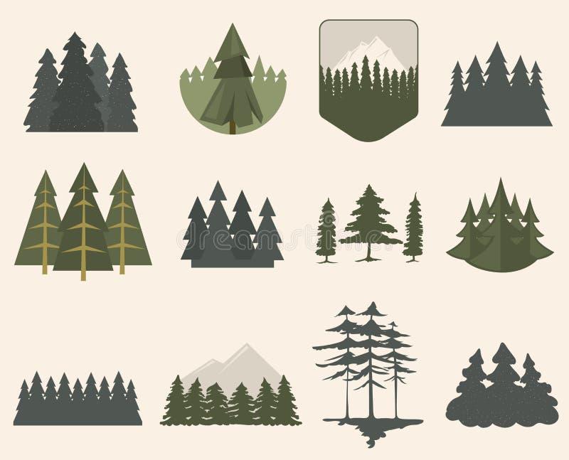 Lasowego drzewa sylwetki set ilustracja wektor
