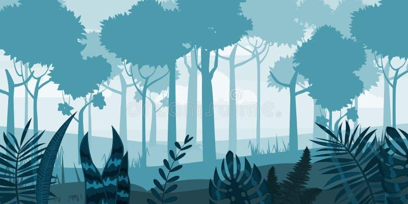 Lasowej sylwetki drewniani drzewa, flora krzaki i gąszcz panoramy tło, Natura i ?rodowisko konserwaci poj?cie royalty ilustracja