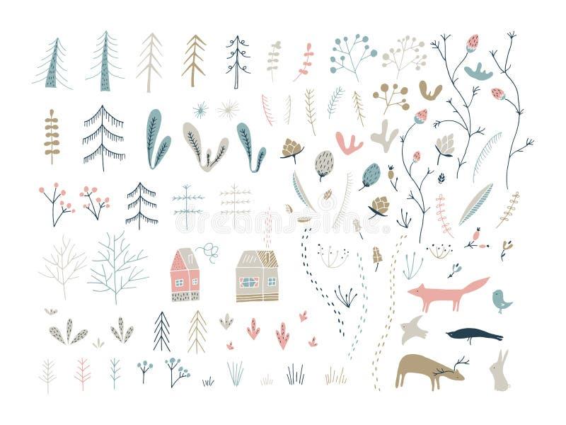 Lasowi doodle elementy Ręki rysować śliczne ilustracje ilustracji