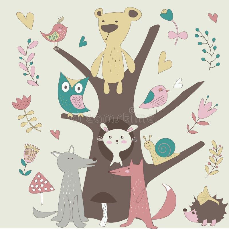 Lasowi zwierzęta royalty ilustracja