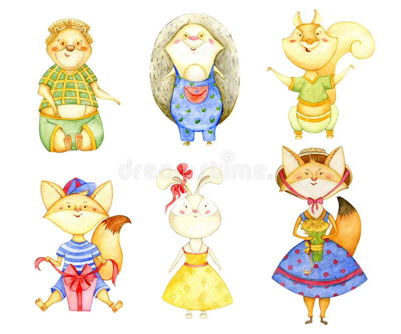 Lasowi zwierzęta inkasowi Śliczni lisy, wiewiórka, jeż, królik i niedźwiedź, pojedynczy białe tło ilustracja wektor