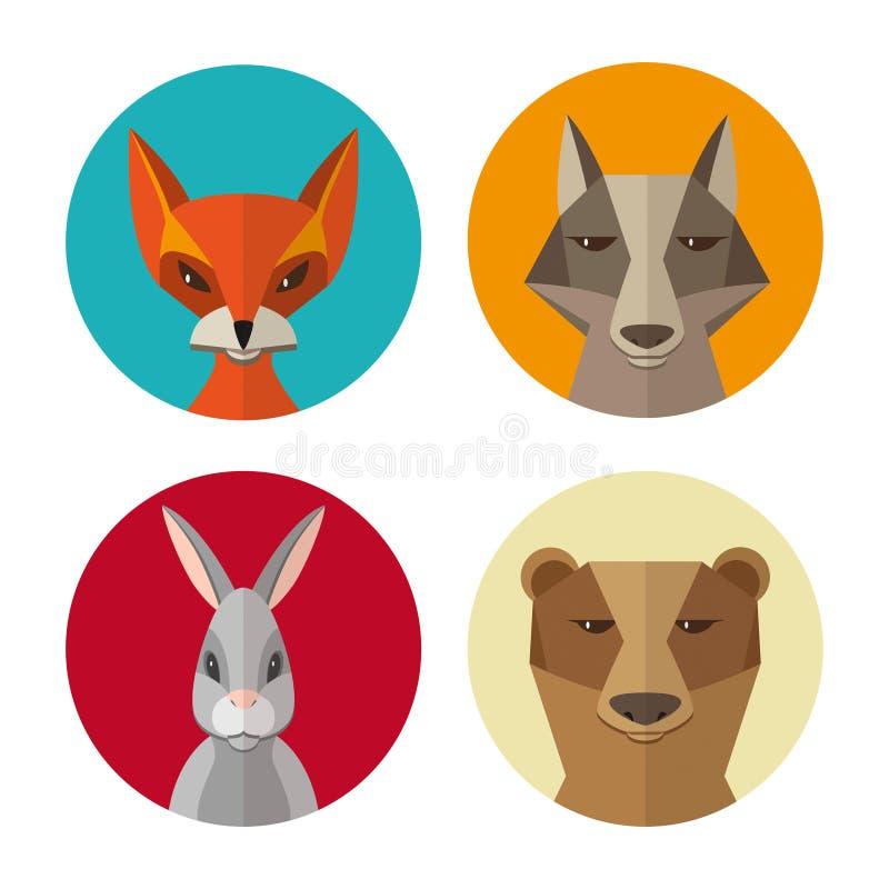 Lasowi zwierzęta króliki, lis, wilk, niedźwiadkowa płaska projekta wektoru ikona ilustracji