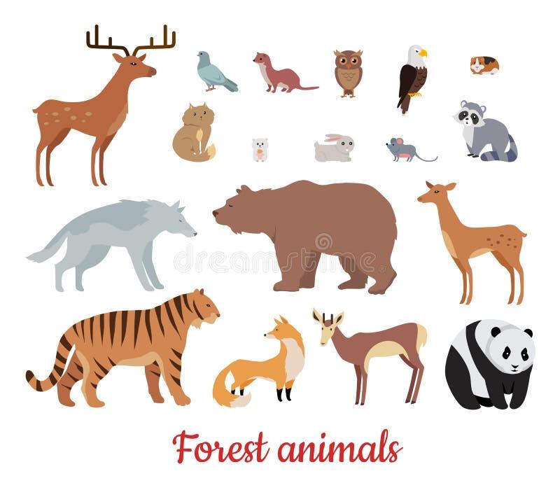 Lasowi zwierzęta ustawiający ilustracja wektor