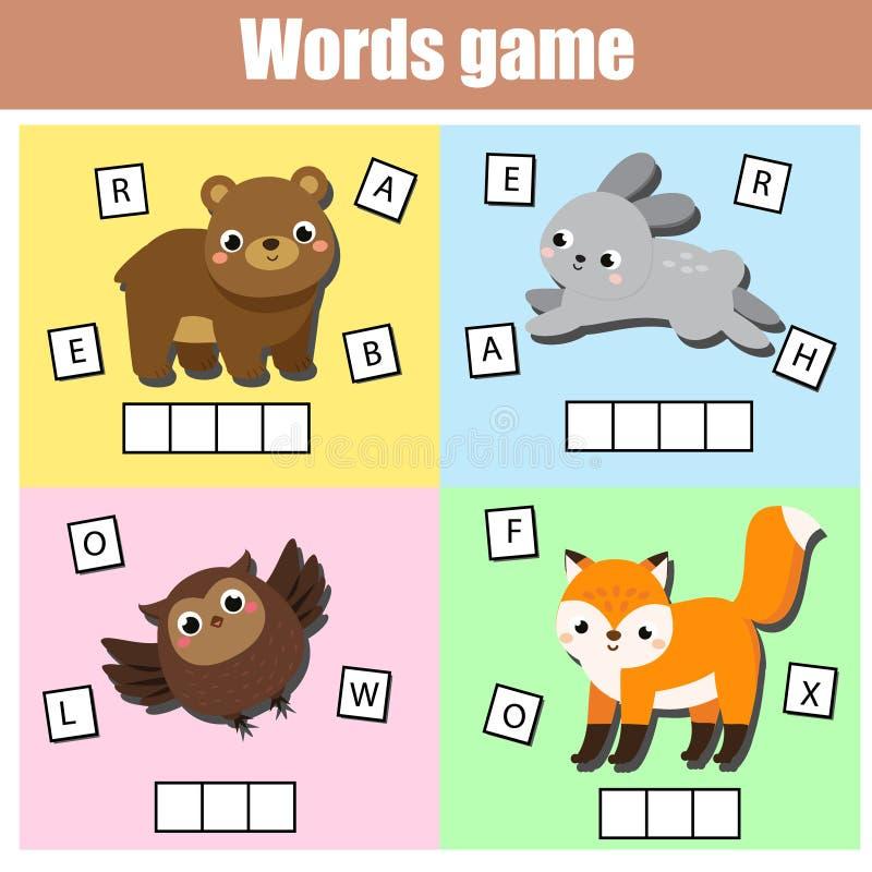 Lasowi zwierz?ta Pisze chybianie listach i uzupe?nia s?owa Crossword dla dzieciak?w i berbeci Edukacyjni dzieci gemowi ilustracji