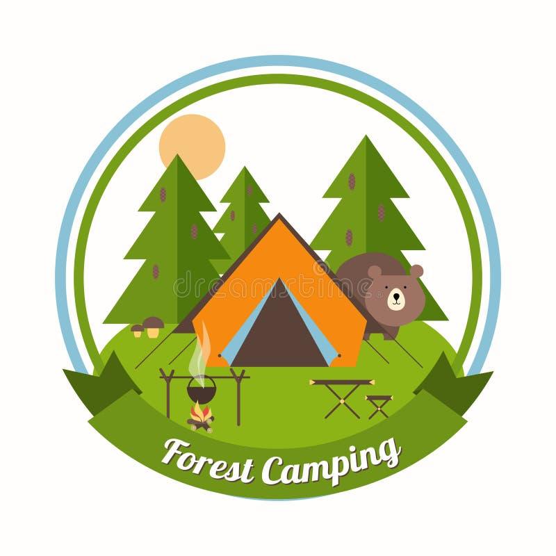 Lasowy Campingowy emblemat ilustracja wektor
