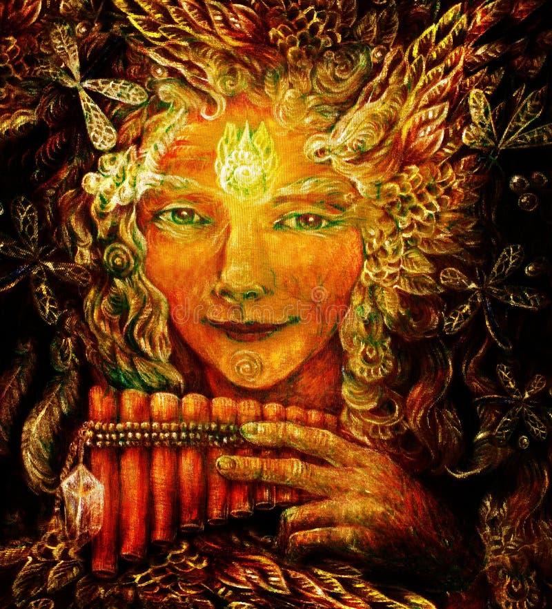 Lasowy czarodziejski szaman z panflute i kryształem, szczegółowa kolorowa ilustracja obrazy stock