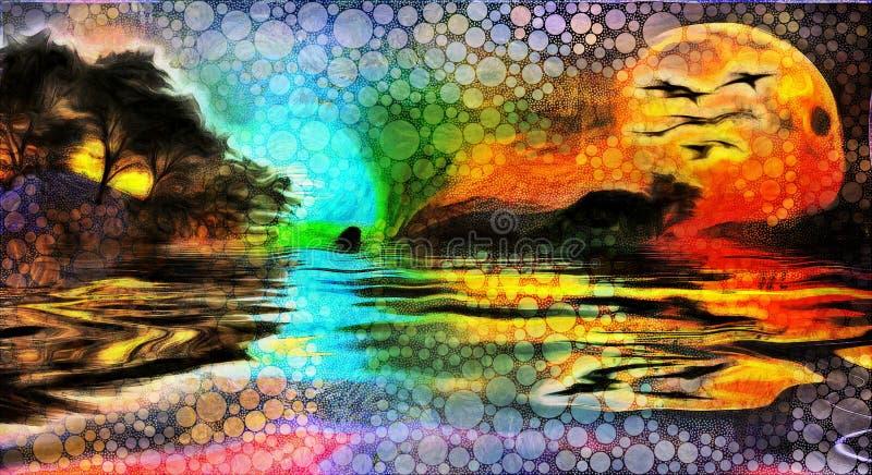 Lasowy jeziorny zmierzch ilustracja wektor