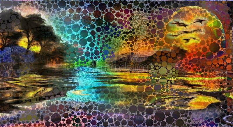 Lasowy jeziorny zmierzch ilustracji