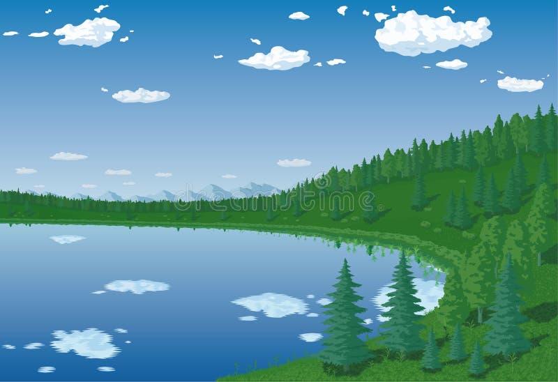 Lasowy jezioro ilustracja wektor