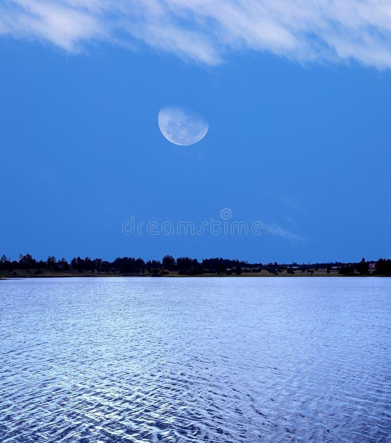 Lasowy jezioro i księżyc zdjęcie stock